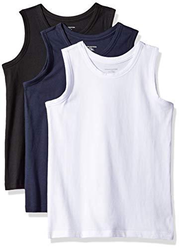 Amazon Essentials Little Boys' 3-Pack Tank, Black Beauty/Bright White/Navy Blazer, M