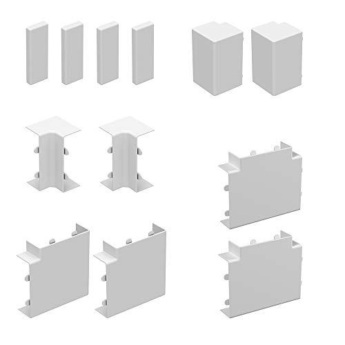 Habengut Zubehör-Set für die Montage des Kabelkanals 30x15 mm, Farbe: Weiß