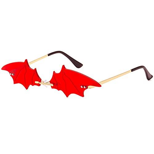 BOJOD Bat Shaped Sunglasses For Women Goth Glasses Funky Novelty Rimless Eye Glasses for Halloween Party Red