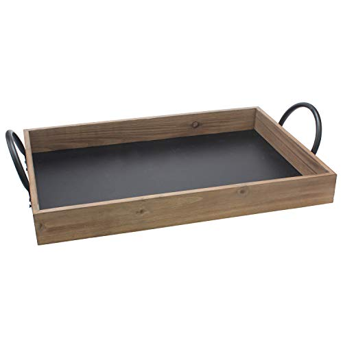 Stonebriar Rectangle Natural Wood Serving Tray with Writable Chalkboard Base and Metal Handles, Unique Butler Tray
