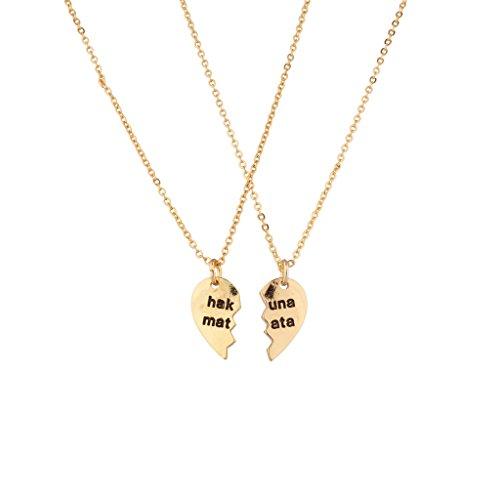 Lux Accessories Hakuna Matata It Means No Worries BFF Best Friends Forever Halskette Set (2 Stk)