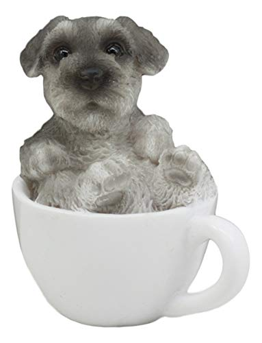 Ebros Realistic Mini Adorable Schnauzer Dog Teacup Statue 3' Tall Pet Pal Dog Breed Collectible Resin Decor Figurine with Glass Eyes