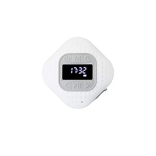 Lenco BAR-013 Bluetooth V.5 Duschradio - IPX4 Bluetooth Lautsprecher - Freisprechfunktion - Saugnapf - PLL FM Badradio - 3 Watt RMS - 1000mAh Li-Ionen Akku - Outdoor geeignet - weiß