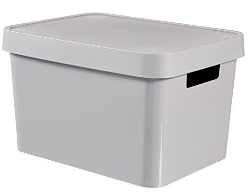 CURVER 04743-099-01 Boîte à Rangement Infinity avec Couvercle 17L en Gris Clair, Plastique, 36,3x27x22,2 cm
