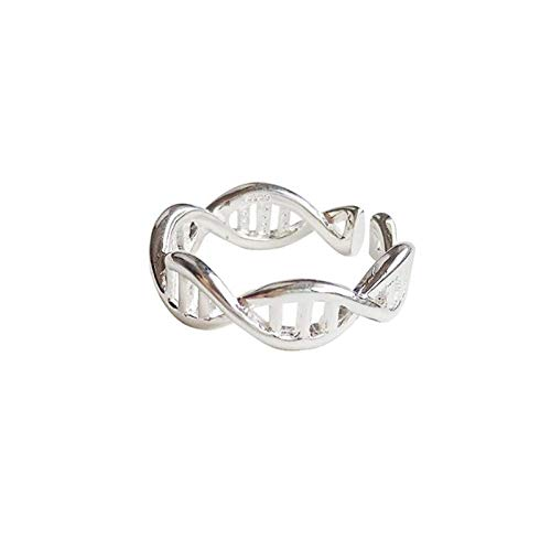 Decorative ring Open Ring For Women,Vintage Creative Hollow Dna Chain Ring Unisex Adjustable 925 Sterling Silver Jewelry Gifts For Weddings Prom Birthday Anniversary Promise Ring