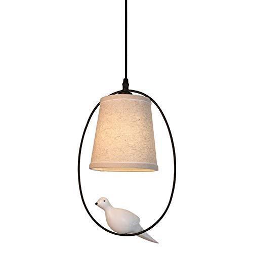 JIN Pendiente Moderna Luminaria Pequeño Edison Bird Lámparas Colgantes de la Lámpara E14 Tela Luz de la Lámpara Pantalla Elíptico de Hierro Forjado de Techo Holder Neg