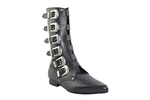Steel Ground Black Leder Winklepicker Rock Boots 6 Riemen Western Buckle, Schwarz - Schwarz - Größe: 40 2/3 EU