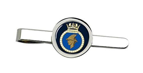 Giftshop UK HMS Hermes, Real Azul Marino Corbata Broche