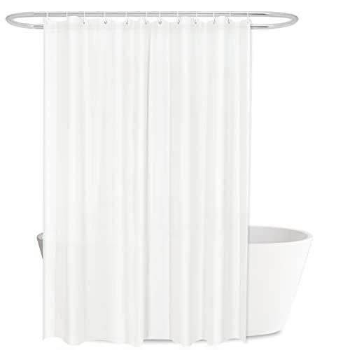 EKKONG Duschvorhang, PEVA Duschvorhang, Duschvorhang Wasserdicht, duschvorhang Anti-bakteriel, Waschbar, mit 12 Duschvorhängeringen, weiß, einfach Aber schöne, 180x200cm, für Badewanne und Bathroom