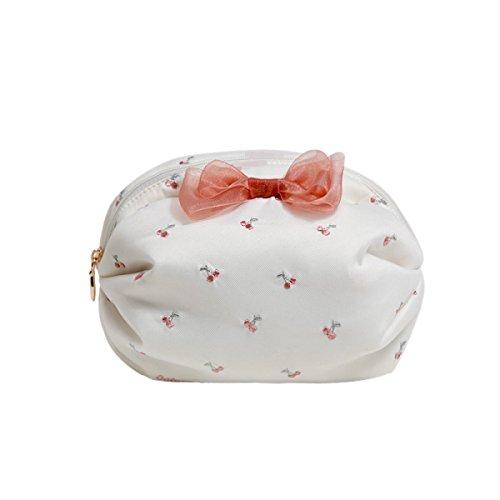 Doux Fille Coeur Sac à Main Imperméable Mignon Fraise Broderie Trompette Portable Mini Sac à Cosmétiques,02-16*11*11cm