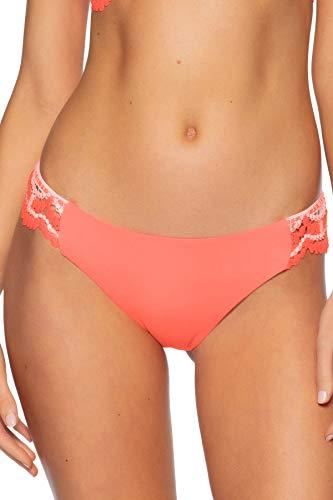 Becca by Rebecca Virtue Women's Avery Crochet Tab Side Hipster Bikini Bottom Coral M