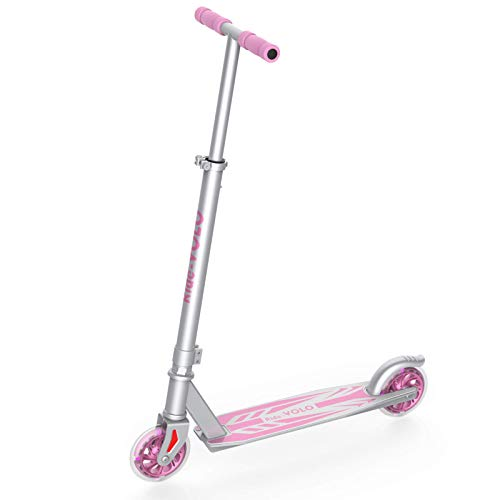 RideVOLO K05 Kick Scooter Suitable for 4-9 Years Old, PU Flash Wheels, 3 Adjustable Heights, Lightweight Aluminum Alloy Frame(Only 5.19lb), ABEC-5 Wheel Bearings, Max Load 110lbs(Pink)
