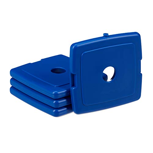 Relaxdays Kühlakku klein, 4er Set, Kühlelemente für Brotdose & Kühltasche, PVC, Gel, Mini Kühlakkus, 13x13x1,5 cm, blau, 4 Stück