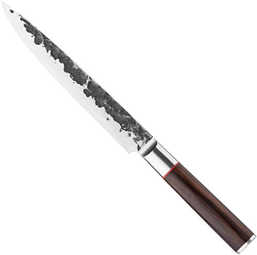 Forged Sebra - Cuchillo jamonero (20 cm, hecho a mano, en caja de madera)