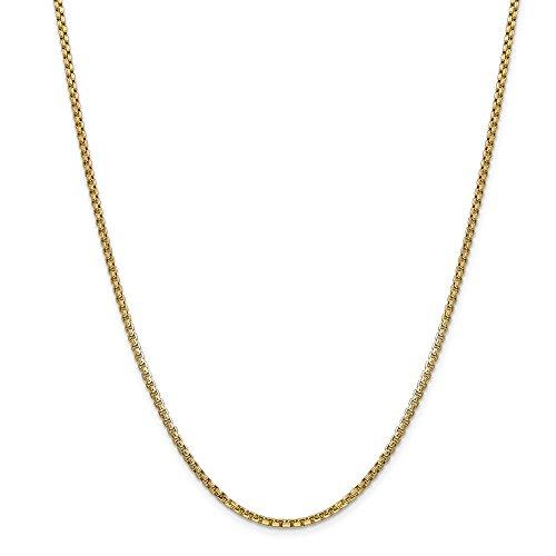 Diamond2deal 14K giallo oro 2.45mm Hollow rotonda box collana 45,7cm