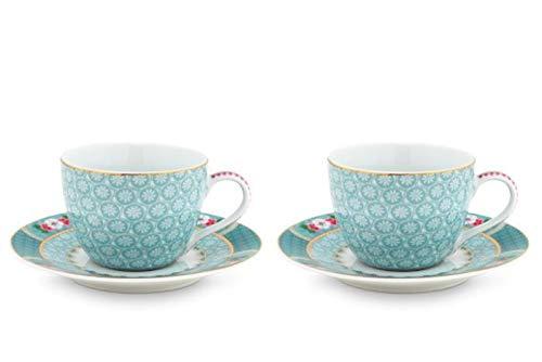 PiP Studio - Espressotasse mit Untertasse - Blushing Birds - Porzellan - blau - 4-teilig