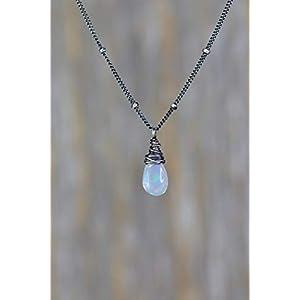 Opal Gemstone Teardrop Pendant Necklace Sterling Silver