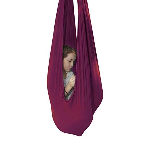 ZCXBHD Hamaca de malla transpirable con soporte de carga de 200 kg para niños con necesidades especiales hamaca ajustable para autismo TDAH Asperger (color: rojo vino, tamaño: 150 x 280 cm)