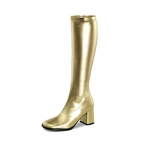 Higher-Heels PleaserUSA Stretch-Kniestiefel Gogo-300 Gold matt Gr. 41,5