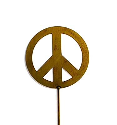 Peace Sign Decorative Metal Garden Stake, Whimsical Garden Idea, Metal Garden Art, Outdoor Lawn and Patio Decor, Backyard Sculpture, Elegant Garden Design and Landscape Decoration, Outdoor Art, Lawn Ornament, Lawn Art, Modern Rustic Decor, Rusty Metal Pat
