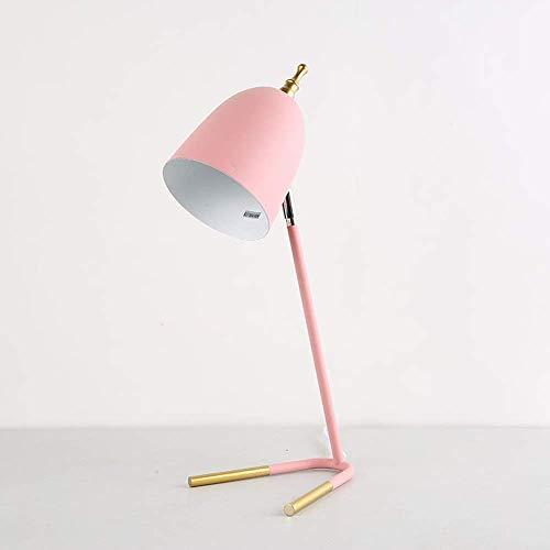 GUOCAO Luz de estilo europeo y americano de lujo moderno de metal rosa Stents creativa personalidad sala de estar, dormitorio, oficina, mesita de noche, lámpara de mesa de color rosa, 18 x 44 cm Ele