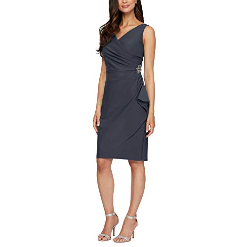 Alex Evenings Women's Short Side Ruched Dress with Cascade Ruffle Skirt, Charcoal, 10