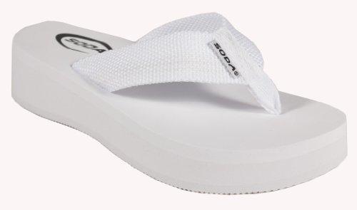 SODA Women's Aiken Flip-Flop Beach Platform Sandal in White EVA