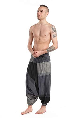 Pantaloni Sarouel elastici, stile Basic etnico, Nero Grigio Cina nero Taglia unica