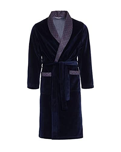 Revise Elegante Vestaglia Uomo - Comodo e Resistente – Velluto RE-101 - Blu Scuro – M