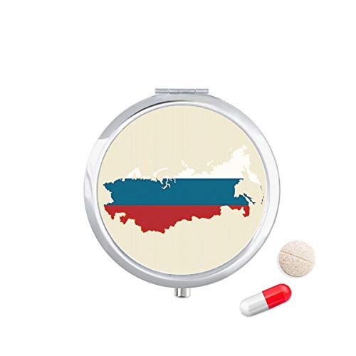 DIYthinker Rusland kaart nationale Falg Illustratie Travel Pocket Pill Case Medicine Drug Opbergdoos Dispenser Spiegel Gift