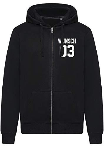 Comedy Shirts - Wunsch - Herren Zipper Hoodie - Schwarz/Weiss - Gr. M
