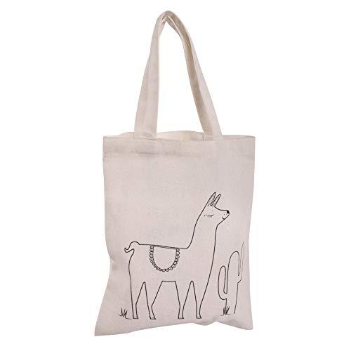 Rayher 53983505 Borsa in Cotone, motivo prestampato Lama, colore Naturale, piccola dimensione 20 x 25 cm da colorare e personalizzare