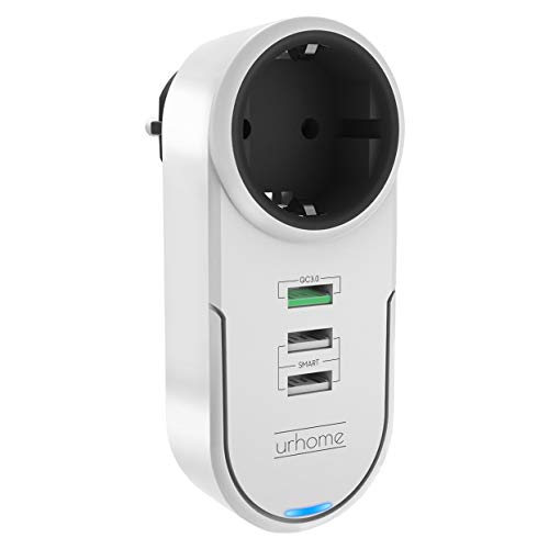 Urhome® 4in1 Steckdosen-Adapter I 180° drehbar I 3x USB (1x 3.0 Fast Charger) Weiß
