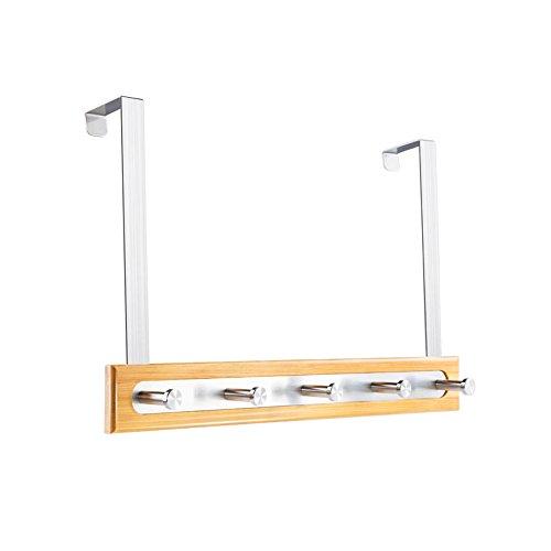 Colgadores de Puerta/Capa engancha baño Cocina/de bambú y Acero Inoxidable/AG/Cinco Ganchos 25 * 40 cm
