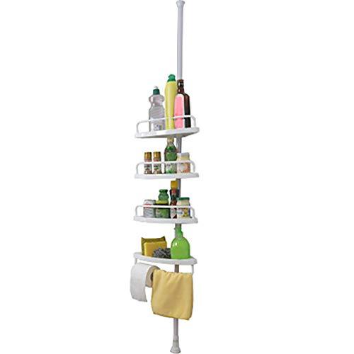 4 -Tier Bathroom Shelving Unit, Bathroom Corner Rack Storage Shelf Bathtub Shower Caddy Holder Shelves Best Storage Shelf for Towels, Toilet Paper, Tissues, Shampoo Bottles (White)