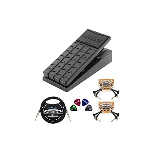 Line 6 EX-1 Expression Pedal for POD Studio and Modeler Stompboxes Bundle with Blucoil 10-FT Straight Instrument Cable (1/4in), 4-Pack of Pedal Patch Cables, and 4-Pack of Celluloid Guitar Picks