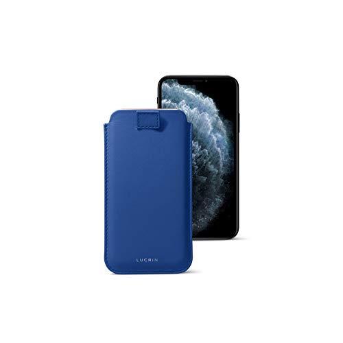 Lucrin - Funda con lengüeta Pull-up para Compatible iPhone 11 Pro MAX/XS MAX/ 8 Plus - Cielo Azul - Piel Liso