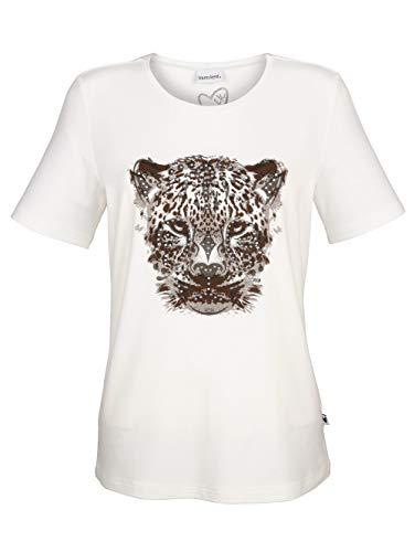 Laura Kent Damen Figurumspielendes T-Shirt in Off-White aus Baumwolle mit Tigerprint