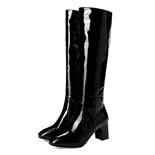 XIGUAUK Overknee-Stiefel für Damen Schneesichere Lackstiefel Warmes Futter Komfort Slip-On Light Motorradstiefel