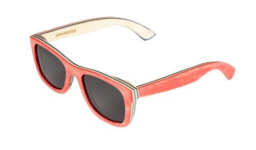 Amoloma Lunettes de Soleil en Bois de Skateboard Rouge. Le Cadre est Fait de Bois de Skateboard. Wood Glasses eyewaer Bamboo/Unisex Fashion Design/Nou