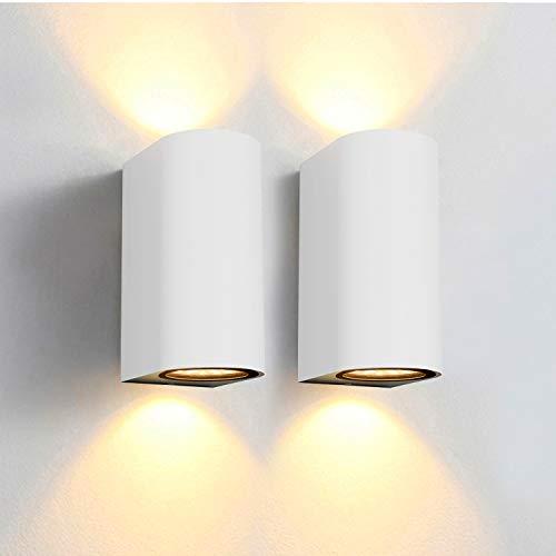 Bojim 2PCS Apliques de Pared LED Exterior IP65 Impermeable, Lámpara de Pared Moderna con 4 x 6W GU10 Bombilla 600LM 2800K Blanca Cálida, Lámpara de...