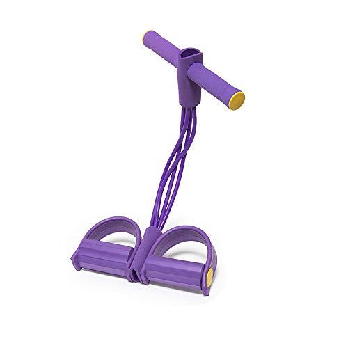K-DD Pedal Elastic Pull Rope Mit Griff, Fitnessgeräten, Superleichten 4-Rohr-Pedal-Übungsbändern Zum Dehnen des Schlankheitstrainings, Zum Bodybuilding-Expander-Bauch-Training,Lila