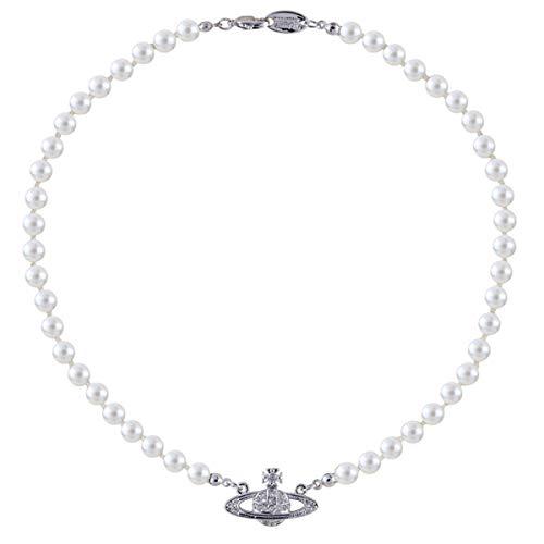 Collar de perlas blancas con diamantes de planeta saturnol, mejor amiga, novia, cumpleaños, aniversario
