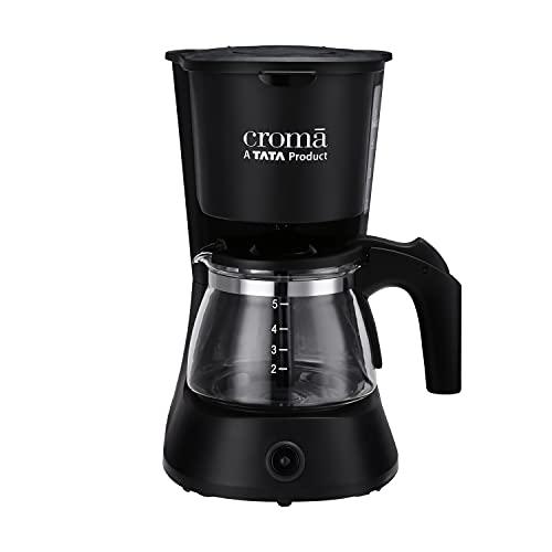 Croma Drip Coffee Maker 0.6L with 5 Cup Capacity, Keep Warm Function & Borosilicate Glass jar (600W) (CRAK0029, Black)