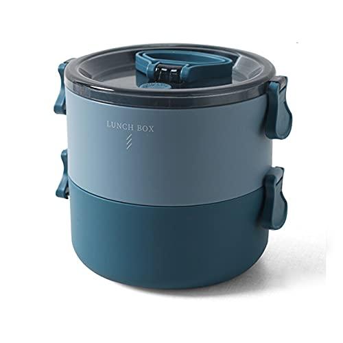 Bento Box Lunch Box Microondas Calefacción Estudiante Placa de cena portátil con cuchara, Capa doble redonda Contrast blue
