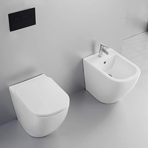 Yellowshop - Sanitari bagno a terra filo muro - Wc rimless, copriwc soft close e bidet mod. Nook