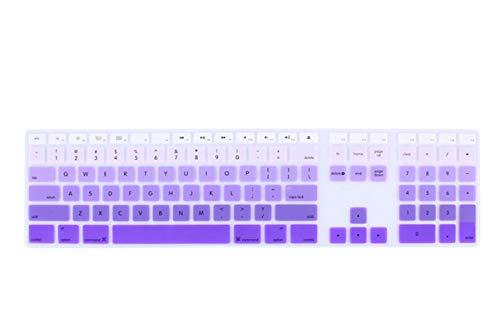 Para iMac con cable USB para Apple teclado A1243 MB110LL/B con teclado numérico silicona tamaño completo cubierta del teclado protector de la piel para iMac-fade púrpura