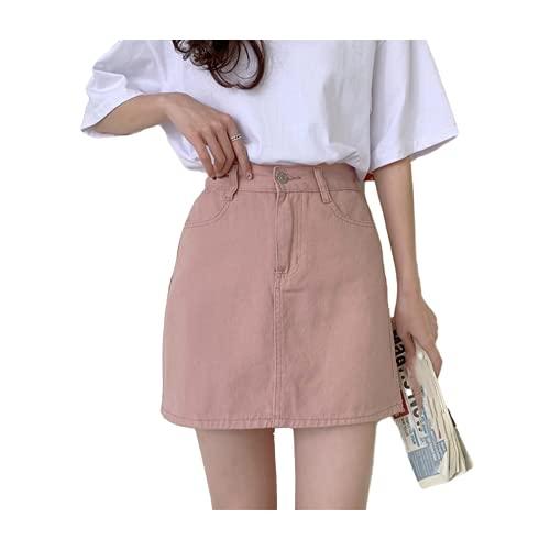 Mujeres Jeans Falda Casual Sólido Una línea Mini Faldas Cintura Alta Coreano Negro