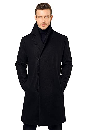ANNA&CHRIS Escalier Men's Winter Wool Trench Coat Long Single-Breasted Jacket Gentlemen Business Coats Black