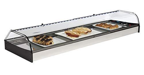 Vetrina riscaldata per bar in acciaio inox con LED - Vetrina calda gastronomia professionale da banco 1200 x 380 x 180 mm